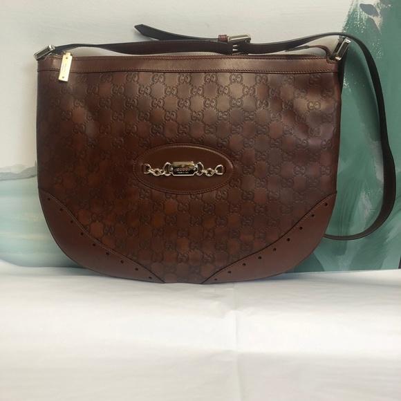 540e99b2c480 Gucci Bags | Nwt Brown Leather Ssima Crossbody Bag | Poshmark